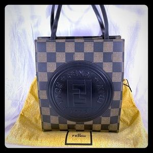 FENDI Pequin Canvas and Leather Tote Shoulder Bag